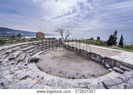 Ruins Of Ancient Roman Theater In Archeological Site In Byblos, Lebanon, One Of The Oldest City In T