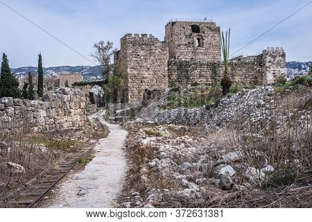 Remains Of Crusader Fortress And Ancient Ruins In Byblos, Lebanon, One Of The Oldest City In The Wor