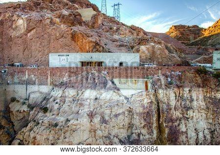 Boulder City, Nevada, Usa - February 18, 2020: Exterior Of The Hoover Dam Visitor Center On The Neva