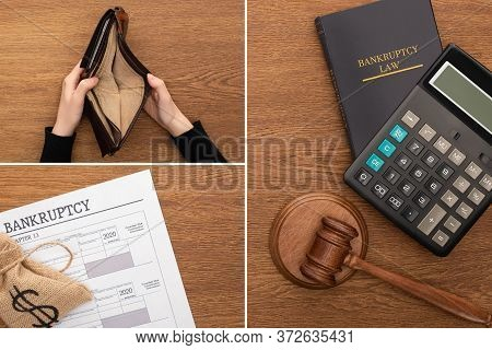 Collage Of Calculator, Bankruptcy Law Book, Document, Money Bag, Gavel, Female Hands With Empty Wall