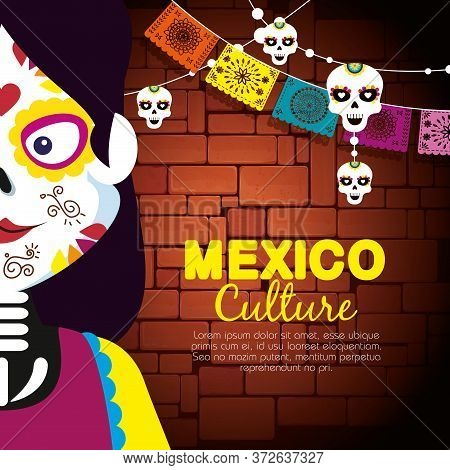Catrina With Skull Banner Banner To Event Celebrate Vector Illustration