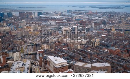 Aerial View Over The City Of Boston