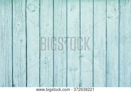 Wooden Background Covered With Shabby Old Blue Paint.