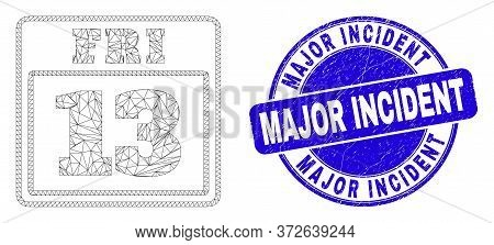 Web Carcass 13 Friday Calendar Page Icon And Major Incident Seal Stamp. Blue Vector Rounded Scratche