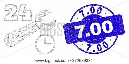 Web Mesh 24-7 Repair Service Icon And 7.00 Seal Stamp. Blue Vector Rounded Textured Seal With 7.00 M