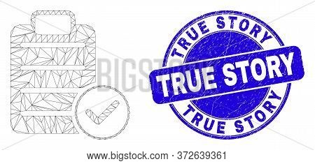 Web Carcass Accept Pad Text Icon And True Story Stamp. Blue Vector Rounded Grunge Stamp With True St