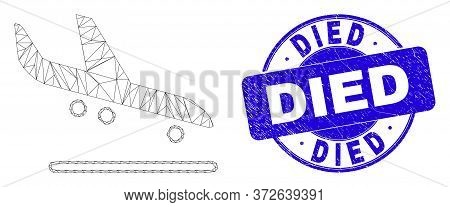 Web Mesh Airplane Arrival Pictogram And Died Stamp. Blue Vector Round Grunge Stamp With Died Phrase.