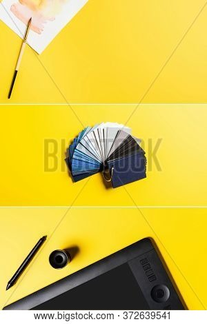 Collage Of Drawing Tablet, Stylus, Colorful Palette And Painting Near Paintbrush On Yellow