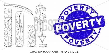 Web Carcass Bankruptcy Bar Chart Pictogram And Poverty Seal Stamp. Blue Vector Rounded Distress Seal