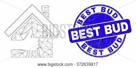 Web Mesh Best House Icon And Best Bud Stamp. Blue Vector Round Grunge Seal Stamp With Best Bud Capti