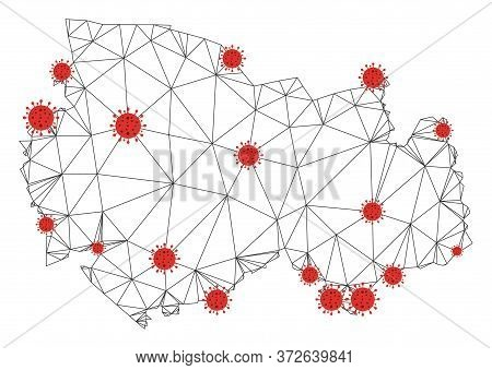 Polygonal Mesh Novosibirsk Region Map With Coronavirus Centers. Abstract Network Connected Lines And