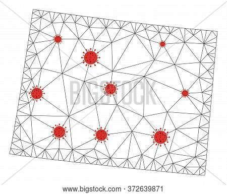 Polygonal Mesh Wyoming State Map With Coronavirus Centers. Abstract Network Connected Lines And Flu