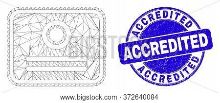 Web Carcass Certificate Pictogram And Accredited Stamp. Blue Vector Round Grunge Seal Stamp With Acc