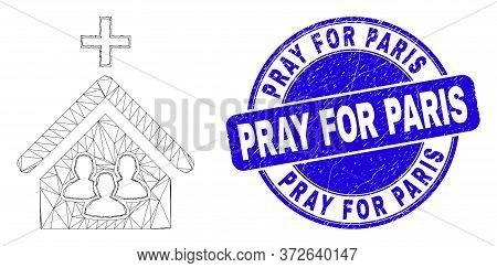 Web Mesh Church People Icon And Pray For Paris Seal Stamp. Blue Vector Round Distress Seal Stamp Wit