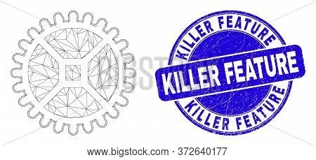 Web Mesh Clock Gear Icon And Killer Feature Seal Stamp. Blue Vector Rounded Grunge Seal With Killer