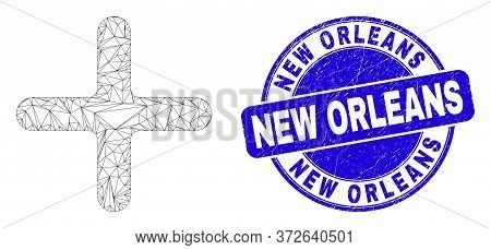 Web Mesh Cross Icon And New Orleans Seal Stamp. Blue Vector Rounded Grunge Watermark With New Orlean