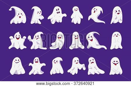 Ghost Cute Character Flat Cartoon Set Icons. Creepy Funny Cute Ghostly Halloween Monsters. Decor Oct