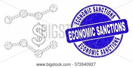 Web Carcass Dollar Trend Charts Icon And Economic Sanctions Seal Stamp. Blue Vector Rounded Textured