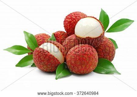 Fresh Lychee, Litchi Fruits Isolated On White Background