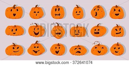Halloween Pumpkins Paper Cut Set. Different Shapes Squash With Carved Cute Faces Emotion. Sign Creep