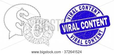 Web Mesh Financial Chat Pictogram And Viral Content Seal Stamp. Blue Vector Rounded Distress Seal St