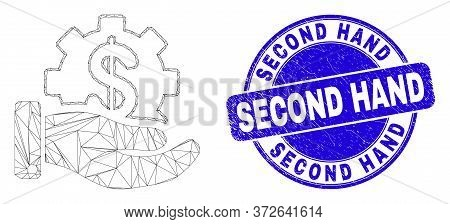 Web Mesh Financial Service Offer Pictogram And Second Hand Seal Stamp. Blue Vector Rounded Grunge Se