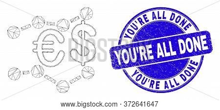 Web Carcass Financial Trends Icon And You're All Done Seal Stamp. Blue Vector Rounded Distress Stamp