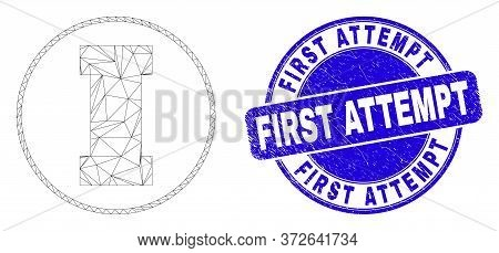Web Carcass First Pictogram And First Attempt Seal Stamp. Blue Vector Rounded Grunge Stamp With Firs