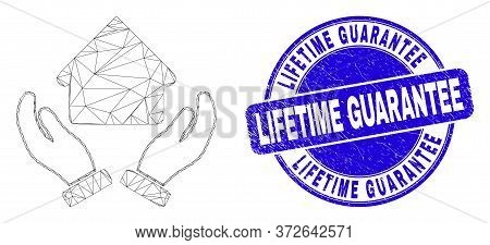 Web Carcass House Care Hands Pictogram And Lifetime Guarantee Seal. Blue Vector Rounded Textured Sea