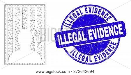 Web Carcass Jailed Person Icon And Illegal Evidence Stamp. Blue Vector Rounded Grunge Seal Stamp Wit