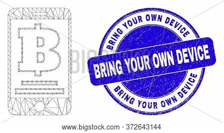 Web Carcass Mobile Bank Icon And Bring Your Own Device Watermark. Blue Vector Round Textured Seal Wi