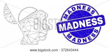 Web Carcass Open Mind Pictogram And Madness Seal Stamp. Blue Vector Round Textured Stamp With Madnes