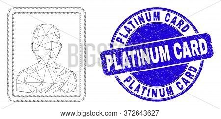 Web Carcass Person Portrait Icon And Platinum Card Seal. Blue Vector Round Textured Seal Stamp With