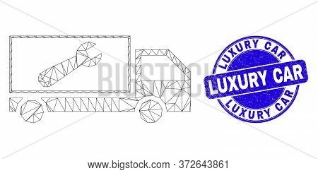 Web Mesh Repair Lorry Pictogram And Luxury Car Seal Stamp. Blue Vector Round Textured Seal Stamp Wit