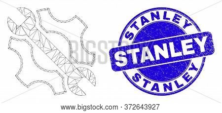 Web Carcass Repair Tools Pictogram And Stanley Watermark. Blue Vector Round Distress Watermark With