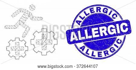 Web Carcass Running Patient On Gears Pictogram And Allergic Seal Stamp. Blue Vector Rounded Grunge S