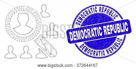 Web Carcass Search Users Icon And Democratic Republic Seal Stamp. Blue Vector Rounded Grunge Seal Wi