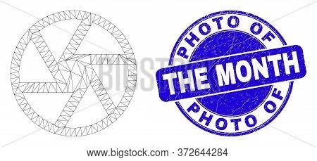 Web Mesh Shutter Icon And Photo Of The Month Seal Stamp. Blue Vector Round Textured Seal Stamp With