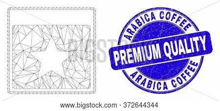 Web Mesh Star Calendar Page Icon And Arabica Coffee Premium Quality Stamp. Blue Vector Round Scratch