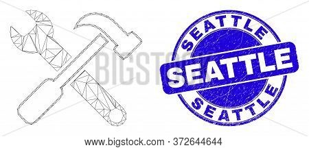 Web Mesh Tools Icon And Seattle Watermark. Blue Vector Rounded Grunge Watermark With Seattle Title.