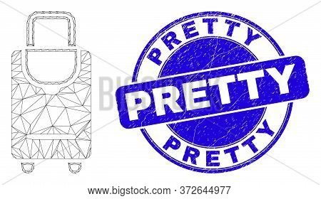 Web Mesh Voyage Luggage Icon And Pretty Seal Stamp. Blue Vector Rounded Distress Stamp With Pretty T