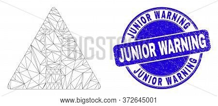 Web Carcass Warning Pictogram And Junior Warning Seal Stamp. Blue Vector Rounded Grunge Watermark Wi
