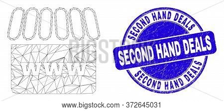 Web Mesh Webshop Icon And Second Hand Deals Watermark. Blue Vector Rounded Scratched Watermark With