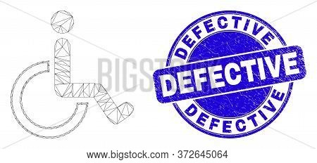 Web Carcass Wheelchair Icon And Defective Seal Stamp. Blue Vector Rounded Textured Seal Stamp With D