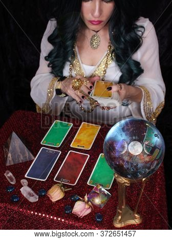 Psychic With Green Hair  Crystal Ball And Tarot Cards