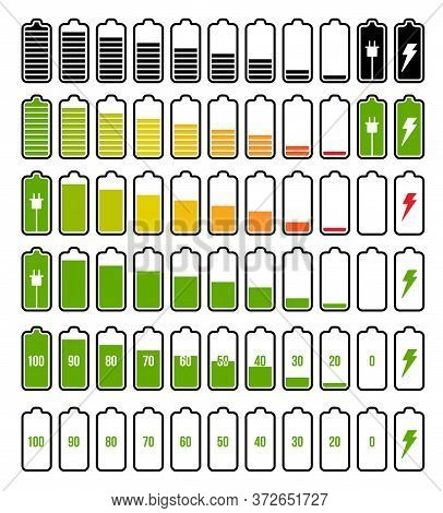 Battery Charge Indicator Set. Isolated Electric Battery Charge Full, Low, Empty Levels And Charging