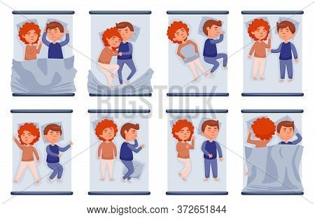 Couple Sleeping In Bed Set. Isolated Vector Man And Woman Person Couples Lying, Relaxing And Sleepin
