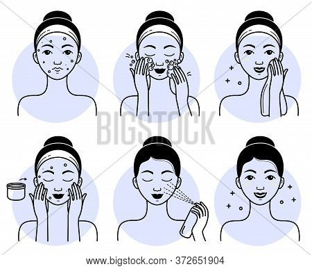 Face Skincare Set. Isolated Woman Cleansing, Washing Face, Applying Facial Spray Cosmetic And Cream