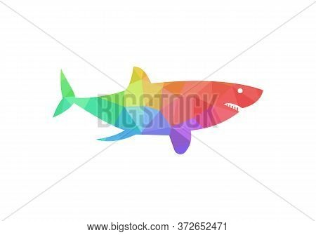 Jumping Shark Icon Logo Template. Simple Shark Logo, Colorful, Low Poly, Geometric