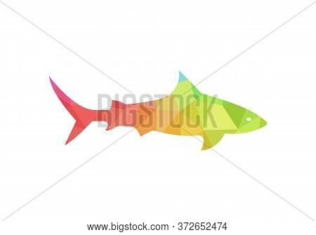 Jumping Shark Icon Logo Template. Simple Shark Logo, Colorful, Low Poly, Geometric Concept